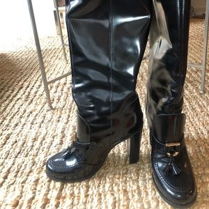 Ferragamo Black Patent Knee-High Boots